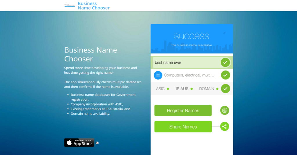 Business Name Chooser